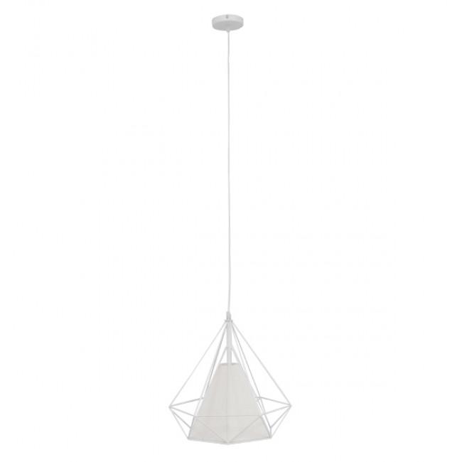 Μοντέρνο Industrial Κρεμαστό Φωτιστικό Οροφής Μονόφωτο Λευκό με Ύφασμα Μεταλλικό Πλέγμα Φ38 GloboStar KAIRI WHITE 01619 - 2