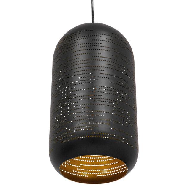 Μοντέρνο Κρεμαστό Φωτιστικό Οροφής Μονόφωτο Μαύρο με Χρυσό Μεταλλικό Καμπάνα Φ20  SAGA 01591 - 6