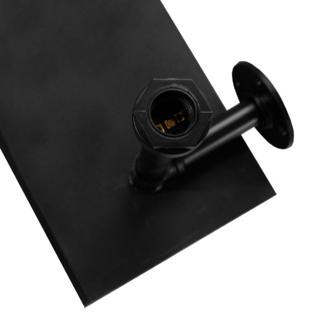 Vintage Industrial Φωτιστικό Τοίχου Απλίκα Δίφωτο Μαύρο Μεταλλικό με Ξύλινα Μαύρα Ράφια GloboStar ENIMAS 01217 - 5
