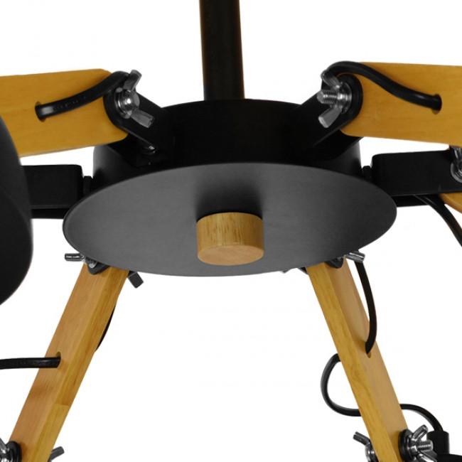 Μοντέρνο Φωτιστικό Οροφής Πολύφωτο Μαύρο Μεταλλικό με Φυσικό Ξύλο Καμπάνα Φ75  OLD SCHOOL 01094 - 5