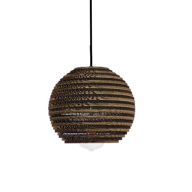 Vintage Κρεμαστό Φωτιστικό Οροφής Μονόφωτο 3D από Επεξεργασμένο Σκληρό Καφέ Χαρτόνι Καμπάνα Φ20  SANTORINI 01288 - 5