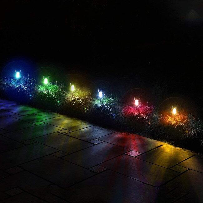 71522-10 ΣΕΤ 10 Τεμαχίων Αυτόνομα Ηλιακά Φωτιστικά LED SMD 1W 90lm με Ενσωματωμένη Μπαταρία 600mAh - Φωτοβολταϊκό Πάνελ με Αισθητήρα Ημέρας-Νύχτας Αδιάβροχο IP65 Φανάρι Κήπου Στρογγυλό Πολύχρωμο RGB - 5
