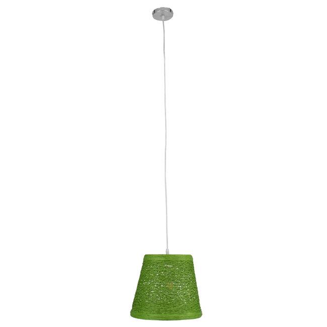 PLAYROOM 00864 Vintage Κρεμαστό Φωτιστικό Οροφής Μονόφωτο Πράσινο Ξύλινο Ψάθινο Rattan Φ32 x Υ27cm - 4