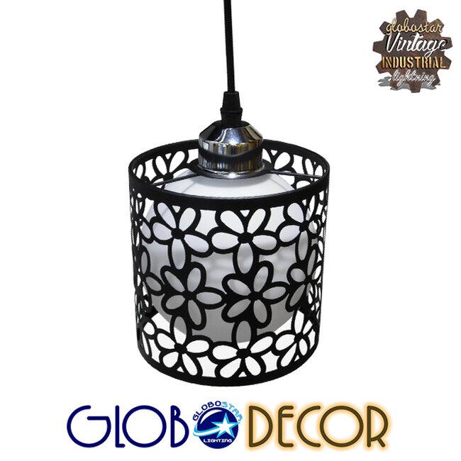 Μοντέρνο Κρεμαστό Φωτιστικό Οροφής Τρίφωτο Μαύρο Μεταλλικό Πλέγμα με Λευκό Γυαλί Φ40 GloboStar RAINELDA 01246 - 6