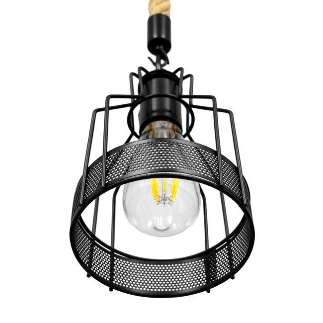GloboStar® MASON 00881 Vintage Industrial Κρεμαστό Φωτιστικό Οροφής Μονόφωτο Μαύρο με Μπεζ Σχοινί Φ15 x Y24cm - 5