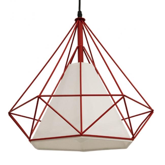 Μοντέρνο Industrial Κρεμαστό Φωτιστικό Οροφής Μονόφωτο Κόκκινο με Άσπρο Ύφασμα Μεταλλικό Πλέγμα Φ38 GloboStar KAIRI RED 01620 - 1