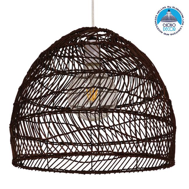 Vintage Κρεμαστό Φωτιστικό Οροφής Μονόφωτο Καφέ Σκούρο Ξύλινο Bamboo Φ40  COMORES DARK BROWN 00970 - 1