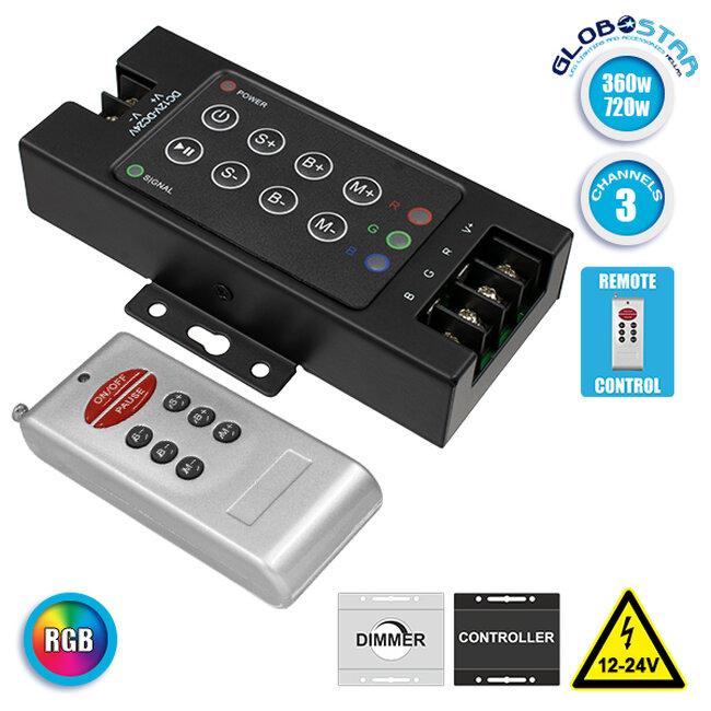73405 Ασύρματος LED RGB Controller με Χειριστήριο RF 12v (360w) - 24v (720w) DC - 1