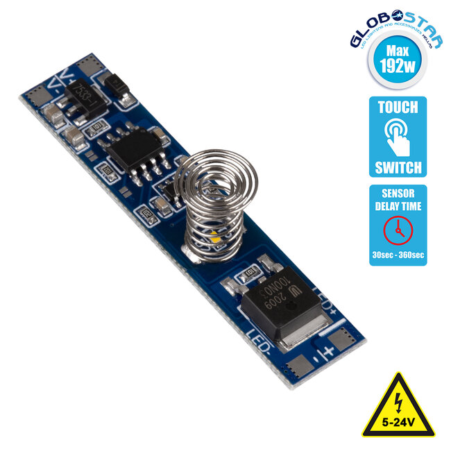 GloboStar® 70699 Mini Αισθητήρας Modular για Προφίλ Αλουμινίου με Διακόπτη Αφής Touch Sensor DC 5-24V Max 192W - 1