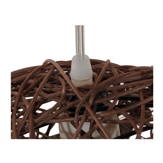 Vintage Κρεμαστό Φωτιστικό Οροφής Μονόφωτο Καφέ Σκούρο Ξύλινο Ψάθινο Rattan  MENISCUS 01330 - 6