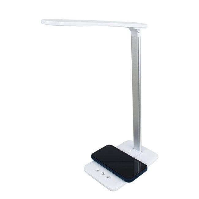 WASP 76532 Μοντέρνο Φωτιστικό Γραφείου Λευκό LED 10 Watt 1000lm DC 5V Αφής & Καλώδιο Τροφοδοσίας USB με Ασύρματη Φόρτιση - Wireless Charger - CCT Θερμό Λευκό 2700K - Φυσικό Λευκό 4500K - Ψυχρό Λευκό 6000K Dimmable - 4