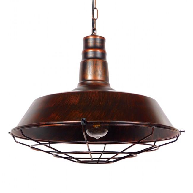 Vintage Industrial Κρεμαστό Φωτιστικό Οροφής Μονόφωτο Καφέ Σκουριά Μεταλλικό Καμπάνα Φ46 GloboStar BARN IRON RUST 01045 - 1