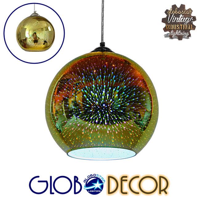 Μοντέρνο Κρεμαστό Φωτιστικό Οροφής Μονόφωτο Γυάλινο Νίκελ Χρυσό 3D Φ25  SATURN 01351 - 1