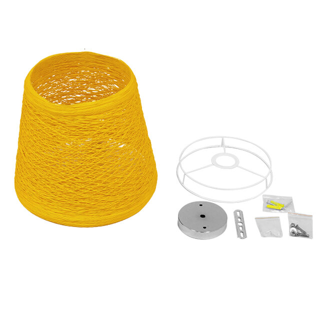 Vintage Κρεμαστό Φωτιστικό Οροφής Μονόφωτο Κίτρινο Ξύλινο Ψάθινο Rattan Φ32  ARGENT YELLOW 00998 - 6
