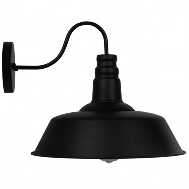 Vintage Industrial Φωτιστικό Τοίχου Απλίκα Μονόφωτο Μαύρο Μεταλλικό Καμπάνα Φ36 GloboStar SORD BLACK 01053 - 5