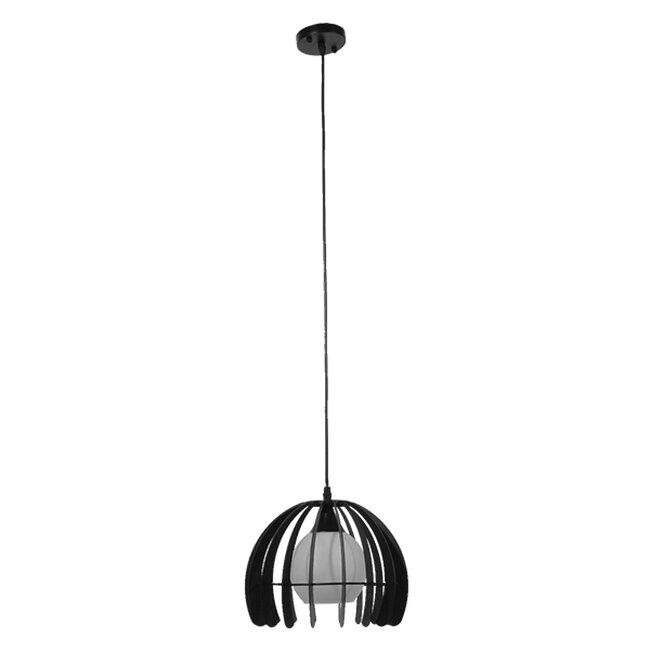 Μοντέρνο Κρεμαστό Φωτιστικό Οροφής Μονόφωτο Μαύρο Μεταλλικό Πλέγμα με Λευκό Γυαλί Φ26  INGLEY 01226 - 2