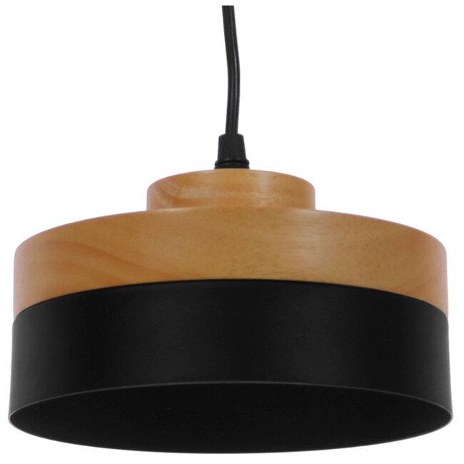 Μοντέρνο Κρεμαστό Φωτιστικό Οροφής Μονόφωτο Μαύρο Μεταλλικό με Φυσικό Ξύλο Καμπάνα Φ18  RUHIEL 01233 - 4