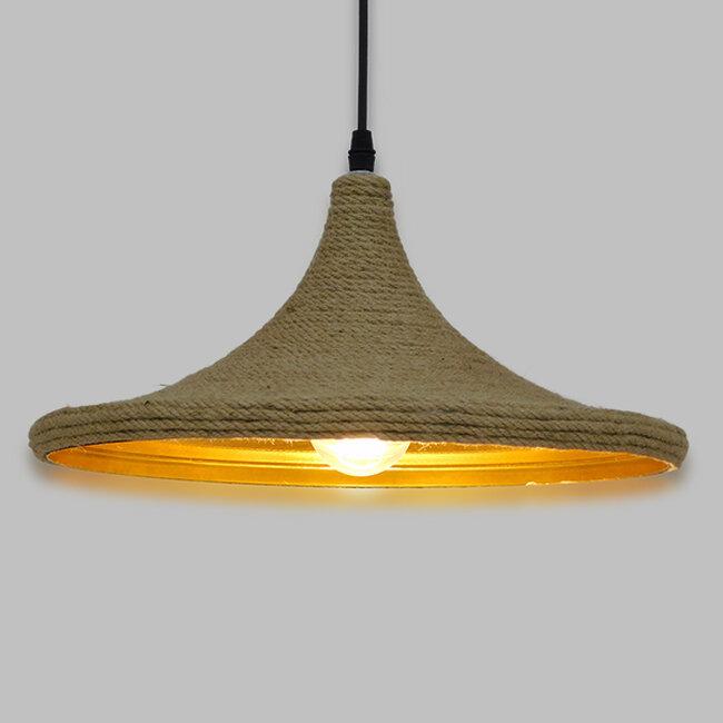 Vintage Κρεμαστό Φωτιστικό Οροφής Μονόφωτο με Μπεζ Σχοινί Καμπάνα  BEIJING Φ37 00917 - 2