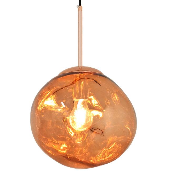 Μοντέρνο Κρεμαστό Φωτιστικό Οροφής Μονόφωτο Γυάλινο Χάλκινο Φ28  DIXXON COPPER 01461 - 2