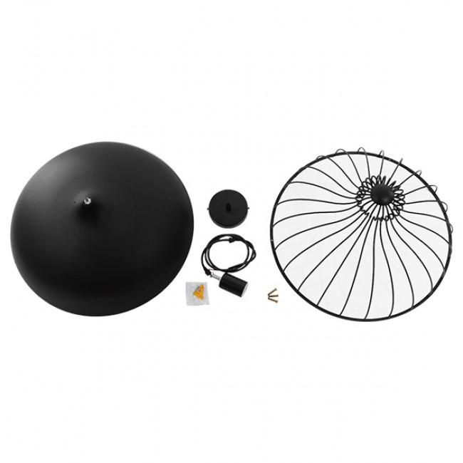Vintage Κρεμαστό Φωτιστικό Οροφής Μονόφωτο Μαύρο Μεταλλικό Πλέγμα Φ46 GloboStar SOBRINO 01108 - 9