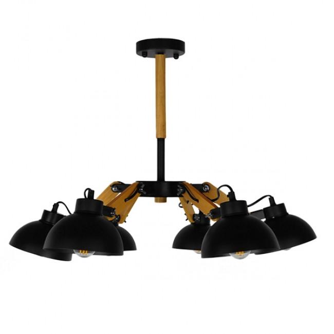 Μοντέρνο Φωτιστικό Οροφής Πολύφωτο Μαύρο Μεταλλικό με Φυσικό Ξύλο Καμπάνα Φ75  OLD SCHOOL 01094 - 2