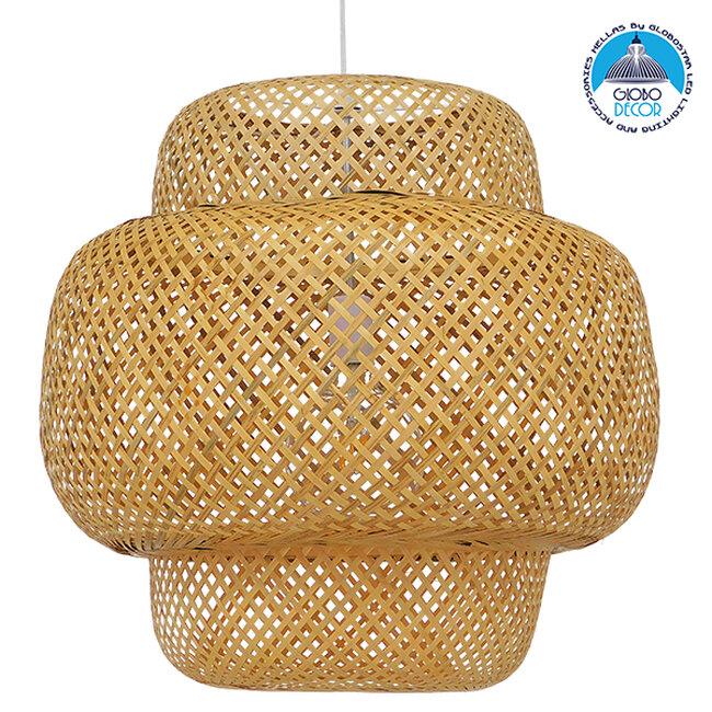 Vintage Κρεμαστό Φωτιστικό Οροφής Μονόφωτο Καφέ Ξύλινο Bamboo Φ56  MALVIDES LIGHT BROWN 01657 - 1