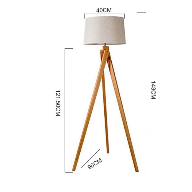 Μοντέρνο Φωτιστικό Δαπέδου Μονόφωτο Ξύλινο με Μπεζ Καπέλο Φ40 GloboStar TRIPOD 01263 - 3