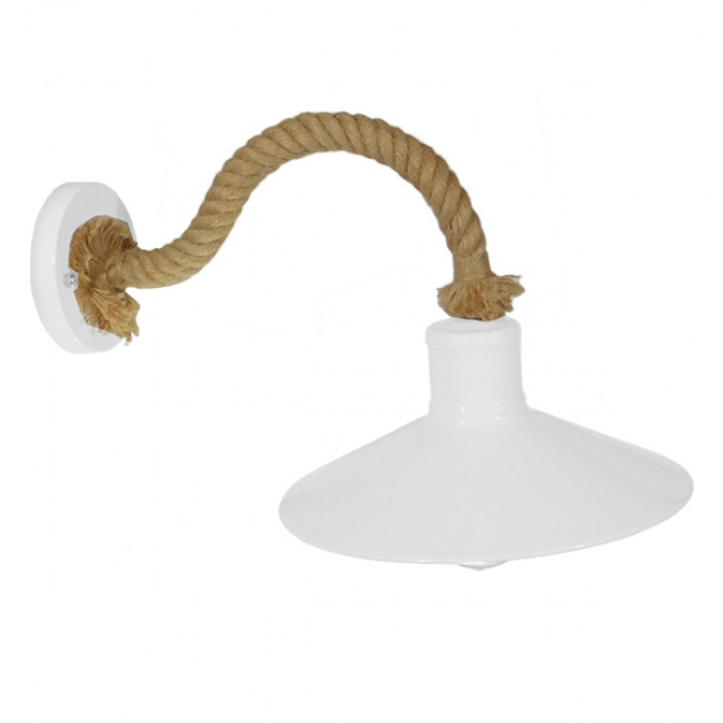 Vintage Φωτιστικό Τοίχου Απλίκα Μονόφωτο Λευκό Μεταλλικό Καμπάνα με Μπεζ Σχοινί Φ27 GloboStar VINSA 01130 - 4