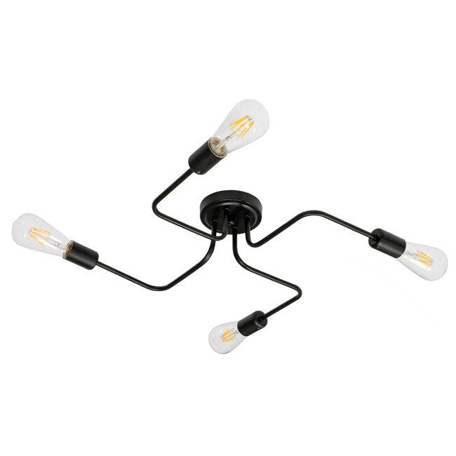 GloboStar® LIBERTA 00838 Μοντέρνο Φωτιστικό Οροφής Πολύφωτο Μαύρο Μεταλλικό Μ44.5 x Π44.5 x Υ12cm - 2