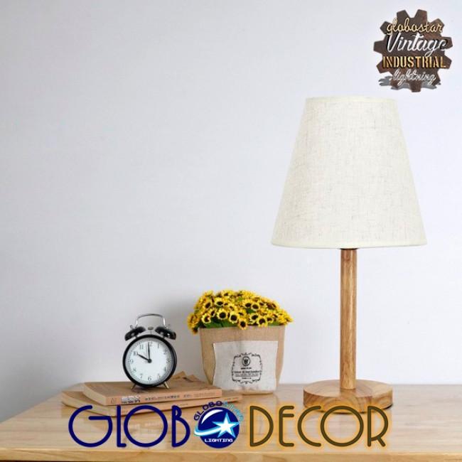 Μοντέρνο Επιτραπέζιο Φωτιστικό Πορτατίφ Μονόφωτο Ξύλινο με Λευκό Καπέλο Φ21 GloboStar NAPHIE 01208 - 16