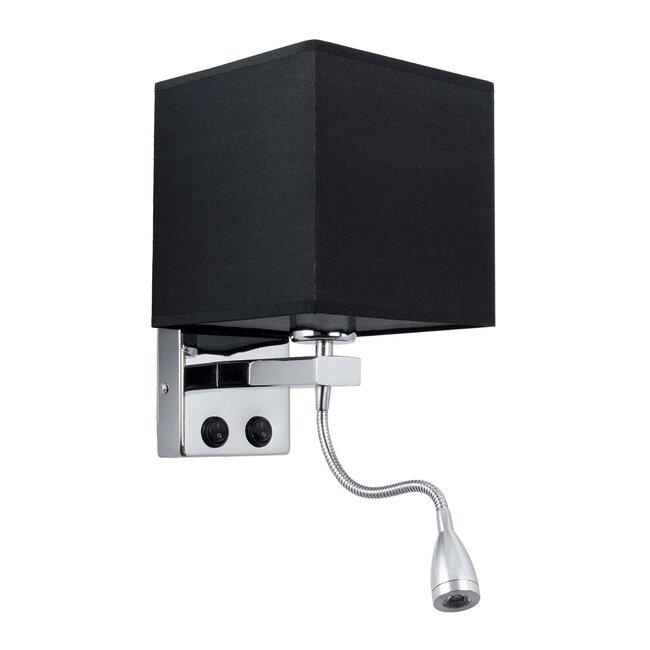 ELEGANT 01494 Μοντέρνο Φωτιστικό Τοίχου Απλίκα Δίφωτο Μεταλλικό με Μαύρο Ύφασμα και Βραχίονα με LED Μ17 x Π21 x Υ43cm - 2