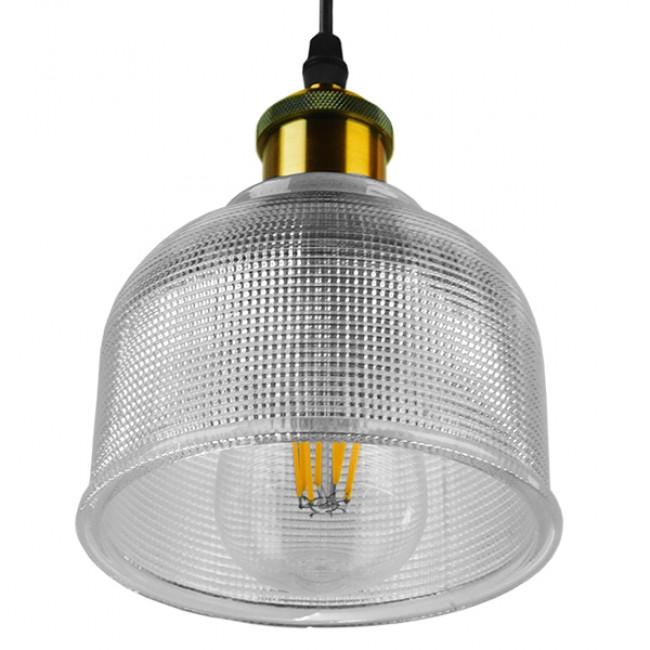Vintage Κρεμαστό Φωτιστικό Οροφής Μονόφωτο Γυάλινο Διάφανο Καμπάνα με Χρυσό Ντουί Φ14 GloboStar SEGRETO TRANSPARENT 01447 - 5