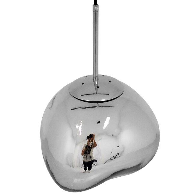Μοντέρνο Κρεμαστό Φωτιστικό Οροφής Μονόφωτο Γυάλινο Ασημί Νίκελ Φ28  DIXXON CHROME 01460 - 4