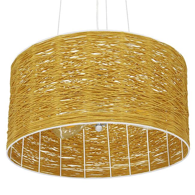 Vintage Κρεμαστό Φωτιστικό Οροφής Μονόφωτο Καφέ Ξύλινο Bamboo Φ40  MADAGASKAR 01630 - 6