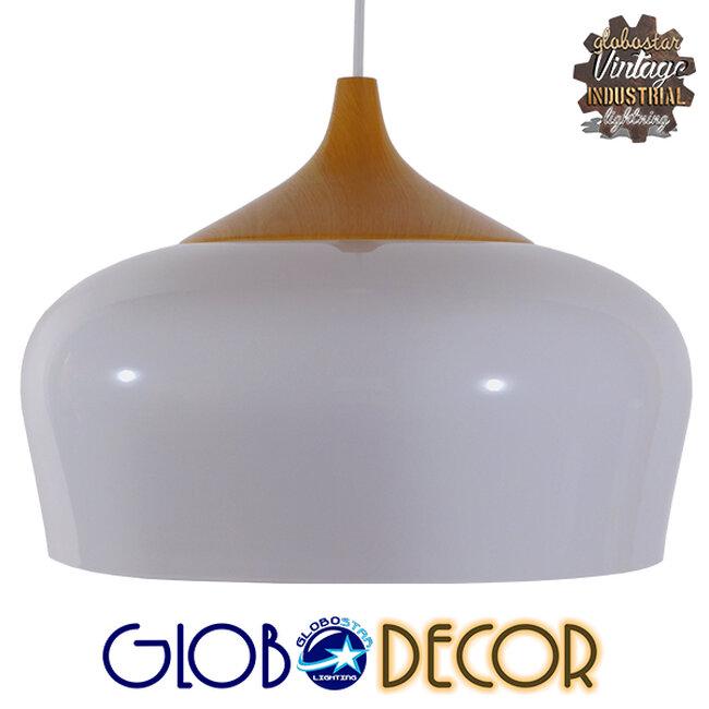 Μοντέρνο Κρεμαστό Φωτιστικό Οροφής Μονόφωτο Λευκό Μεταλλικό Καμπάνα Φ35  VILI WHITE 01260 - 1