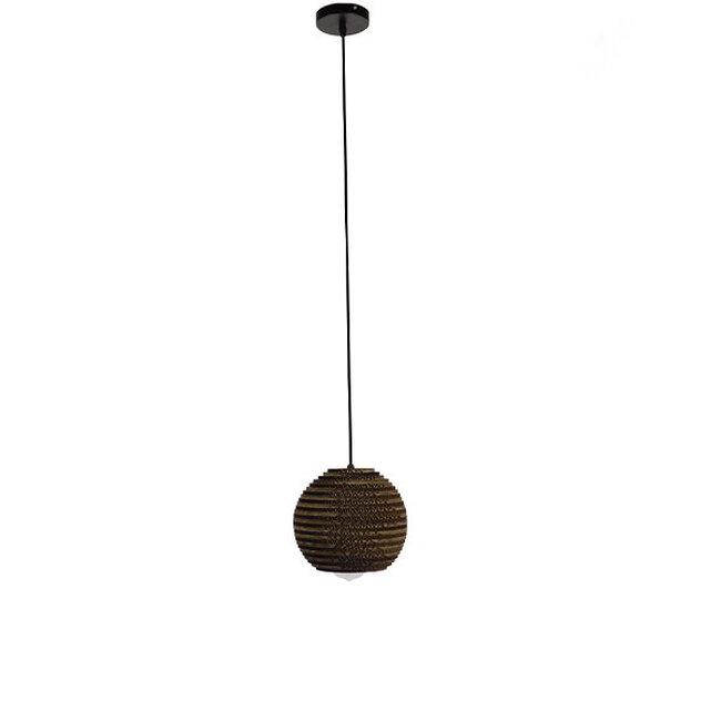 Vintage Κρεμαστό Φωτιστικό Οροφής Μονόφωτο 3D από Επεξεργασμένο Σκληρό Καφέ Χαρτόνι Καμπάνα Φ20  SANTORINI 01288 - 2