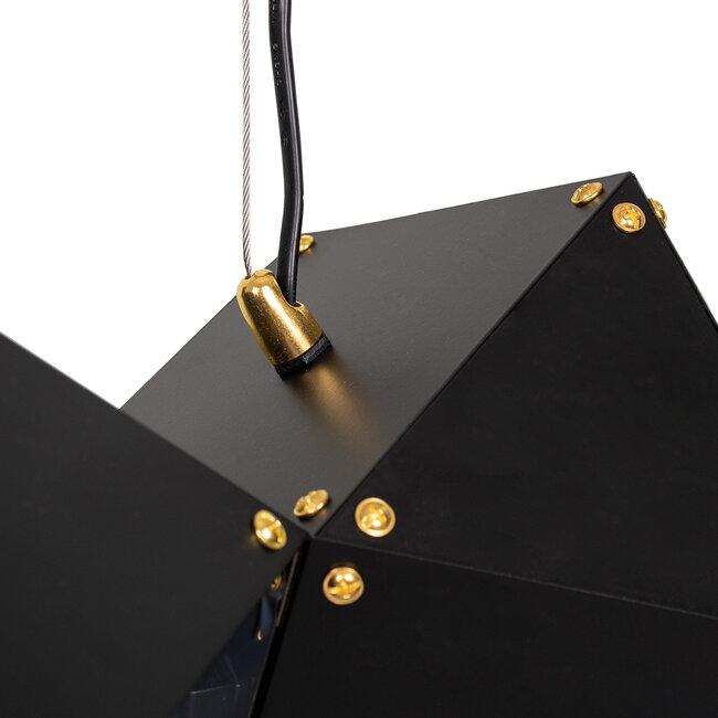 WELLES Replica 00798 Μοντέρνο Κρεμαστό Φωτιστικό Οροφής Πολύφωτο Μεταλλικό Μαύρο Χρυσό Μ130 x Π32 x Υ30cm - 5