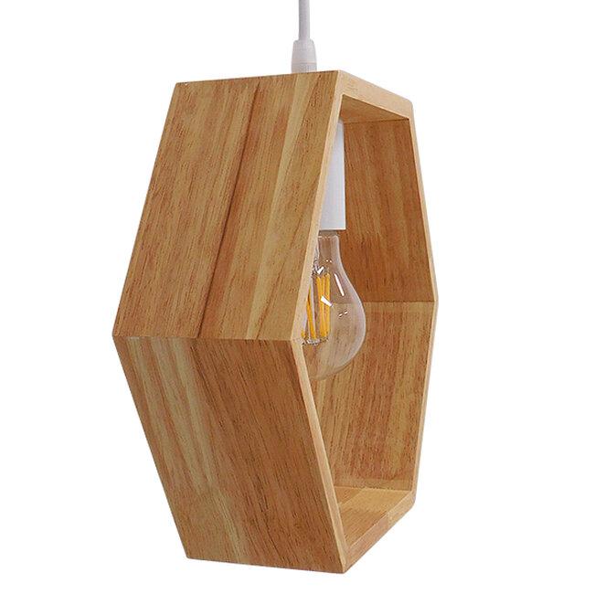 Μοντέρνο Κρεμαστό Φωτιστικό Οροφής Μονόφωτο Μπεζ Ξύλινο Δρυς  ELISE OCTANGLE 01429 - 7