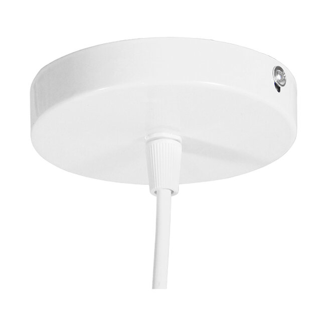 Vintage Industrial Κρεμαστό Φωτιστικό Οροφής Μονόφωτο Λευκό Μεταλλικό Πλέγμα Φ30  LAND 01382 - 7