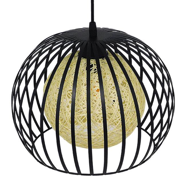 Μοντέρνο Industrial Κρεμαστό Φωτιστικό Οροφής Μονόφωτο Μαύρο με Εκρού Μεταλλικό Πλέγμα Φ28  CARTER Φ28 00960 - 5