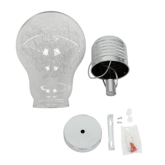 LAMP 01677 Μοντέρνο Κρεμαστό Φωτιστικό Οροφής Μονόφωτο Ασημί Νίκελ Μεταλλικό Διάφανο Γυαλί Φ30 x Υ52cm - 8