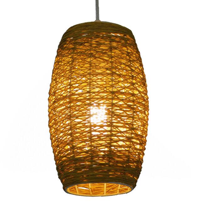 Vintage Κρεμαστό Φωτιστικό Οροφής Μονόφωτο Καφέ Ξύλινο Bamboo Φ15  SAO PAULO 01631 - 2