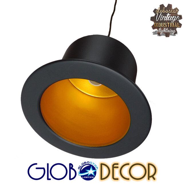Vintage Κρεμαστό Φωτιστικό Οροφής Μονόφωτο Μαύρο Μεταλλικό Καμπάνα Φ26 GloboStar SHERLOCK 01215 - 9