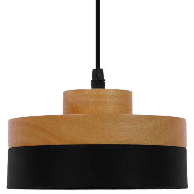 Μοντέρνο Κρεμαστό Φωτιστικό Οροφής Μονόφωτο Μαύρο Μεταλλικό με Φυσικό Ξύλο Καμπάνα Φ18  RUHIEL 01233 - 3