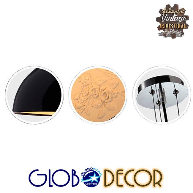 Μοντέρνο Κρεμαστό Φωτιστικό Οροφής Μονόφωτο Μαύρο Γύψινο Καμπάνα Φ40  SERENIA BLACK 01151 - 6