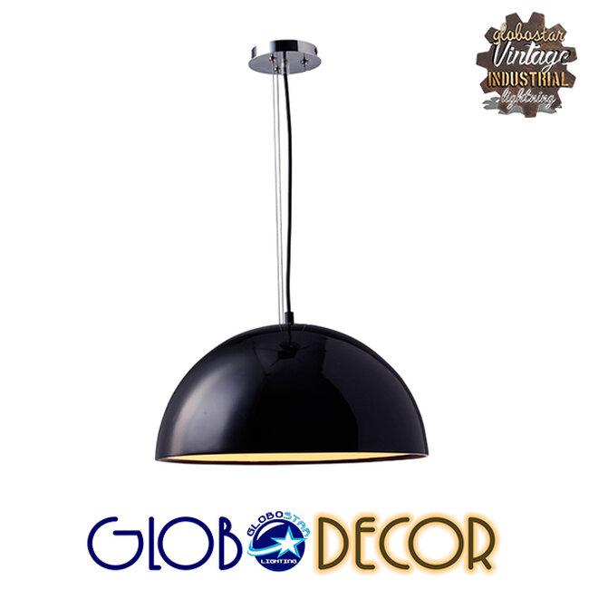 Μοντέρνο Κρεμαστό Φωτιστικό Οροφής Μονόφωτο Μαύρο Γύψινο Καμπάνα Φ40  SERENIA BLACK 01151 - 5