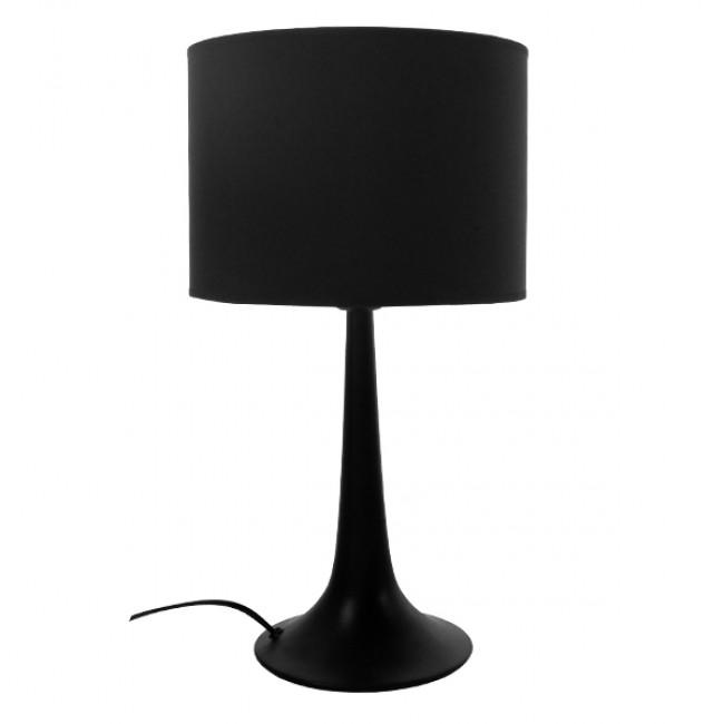 Μοντέρνο Επιτραπέζιο Φωτιστικό Πορτατίφ Μονόφωτο Μεταλλικό με Μαύρο Καπέλο Φ25 GloboStar AMBROSIA BLACK 01394 - 4