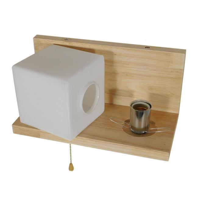 Μοντέρνο Φωτιστικό Τοίχου Απλίκα Ραφάκι Μονόφωτο Ξύλινο με Λευκό Ματ Γυαλί GloboStar AMITY RIGHT 01366 - 4