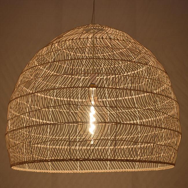 GloboStar® MALIBU 00974 Vintage Κρεμαστό Φωτιστικό Οροφής Μονόφωτο Μπεζ Ξύλινο Bamboo Φ97 x Y86cm - 2
