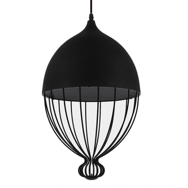 Vintage Κρεμαστό Φωτιστικό Οροφής Μονόφωτο Μαύρο Μεταλλικό Πλέγμα Φ28 GloboStar CANARIO 01107 - 1